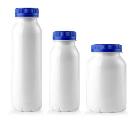 close up of a white bottles with blue lid on white background