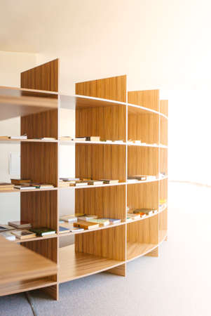 The View of shelves with books in library 免版税图像