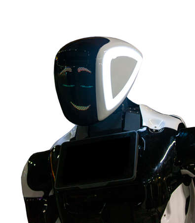 The Close-up of humanoid robot head with micro-cameras eyes