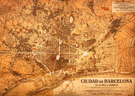 The Barcelona, Spain on an old torn map 版權商用圖片