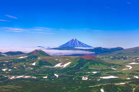The Panoramic view on the valley at the foot of Mutnovsky Volcano, Kamchatka, Russia Stok Fotoğraf