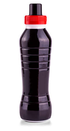 The black bottle of drink on white background.