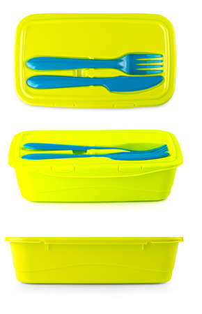 The green Plastic food container with knife and fork on white background Stok Fotoğraf