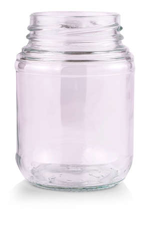 The Empty glass jar isolated on a white background