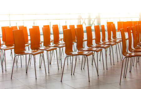The Rows of chairs - meeting background. Selective focus Stock Photo