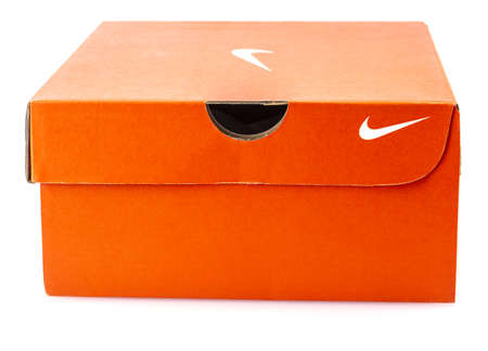 KAMCHATKA, RUSSIA - 25 DESEMBER, 2019: Nike shoes box isolated on white background. Nike is one of the world Editorial