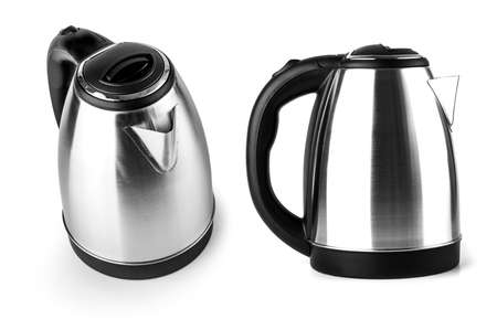 The Stainless Steel Electric Kettle on the white background Archivio Fotografico