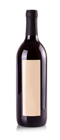 The red wine bottle with label on white background