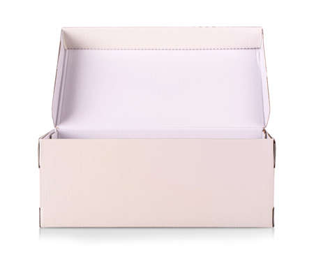 The White shoe box isolated on white with clipping path Stock fotó