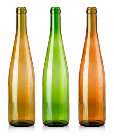The colored Empty bottles for wine isolated on white background