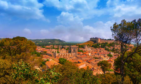 The Wide panoramic view of old town in Avignon, France