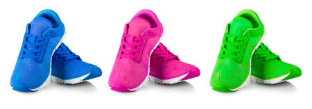 The Set of Pair of colored fashions women sneakers isolated on white Stock fotó