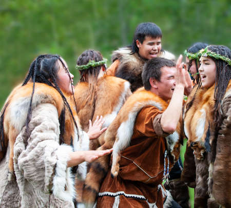 KAMCHATKA, RUSSIA - SEPTEMBER 09, 2017: Aborigine of Kamchatka dancing on dance marathon. Feast of the Aborigines of Kamchatka Alhalalay.