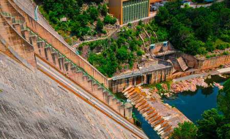 The view of the dam of the Sau Reservoir, in the Ter River, in the Province of Girona, Catalonia, Spain Stock fotó