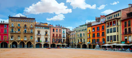 Vic, Spain - 20 JUNE, 2018: The Plaza Mayor in Vic, Catalonia, Spain