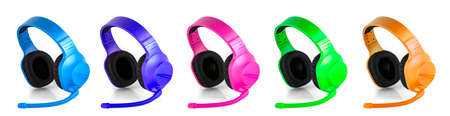 the set of colored  headset with microphone isolated over white