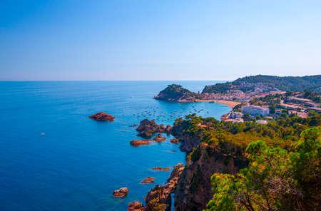 The Panoramic view of beach at Tossa de Mar. Costa Brava, Catalonia, Spain Stock Photo