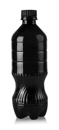 The black plastic bottle for water isolated on white Stock Photo