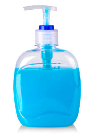 The Plastic bottle of the blue transparent liquid soap isolated on white background