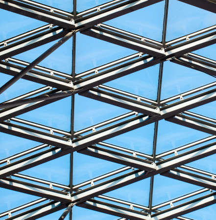 The Glass architecture. Close-up photo of contemporary hi-tech architectural detail. Stock Photo