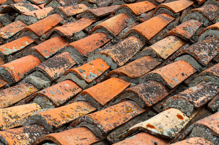 The Background of old roof tiles. Selective focus