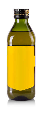 The Olive oil bottle with blank label isolated on white background Stock Photo