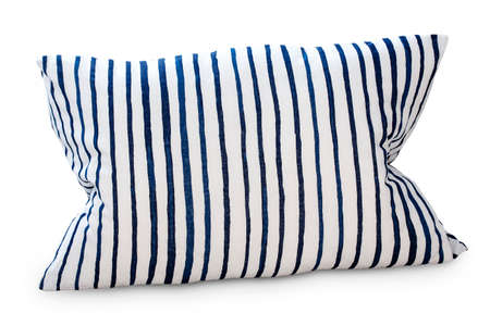 The White striped pillow isolated against white background