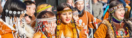 PETROPAVLOVSK, KAMCHATKA, RUSSIA - NOVEMBER 4, 2018: Selective focus. Folk ensemble performance in dress of indigenous people of Kamchatka. The holiday Northern aboriginal Koryak was Hololo. Editöryel