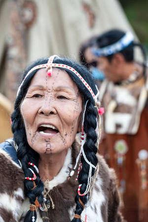 PETROPAVLOVSK, KAMCHATKA, RUSSIA - NOVEMBER 1, 2020: Kamchatka aboriginal koryak. Folk ensemble performance in dress of indigenous people of Kamchatka. Sity day on Petropavlovsk-Kamchatsky