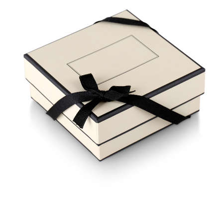 The gift box with black ribbon isolated on white Imagens