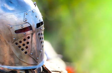 The Helmet of a medieval knight. Close up Stok Fotoğraf