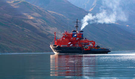 the rescue ship in the Bay on the Kamchatka Peninsula