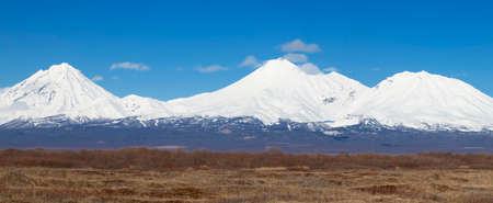 The Panorama Koryaksky Avachinsky Kozelsky volcanoes of Kamchatka Peninsula Stok Fotoğraf