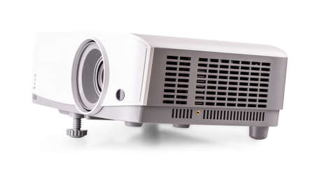 The White multimedia projector isolated on white background Stok Fotoğraf