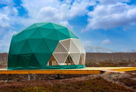 The green glamping. Cozy, camping, glamping, holiday, vacation lifestyle concept.