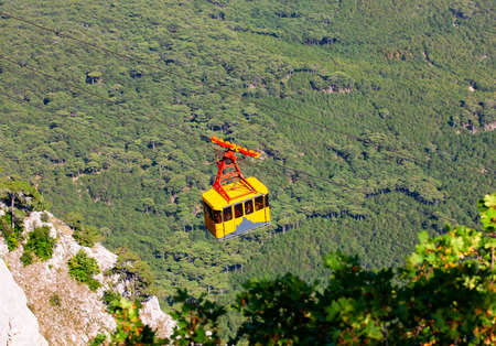Cable car high in the mountains. Selective focus