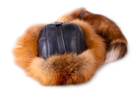mens Fox fur winter hat isolated on white Stock fotó