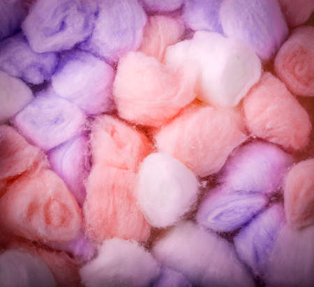 The Cotton balls as background. Close up