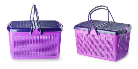 Hand craft plastic basket isolated on white background