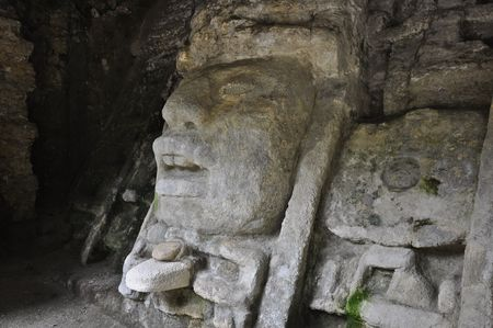 tourism in belize: Ancient Mayan God in Belize Temple