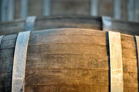 Barrel used for storing vintage wine photo