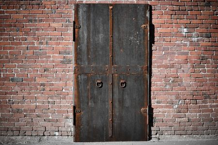 Scary Steel Door with brick around it