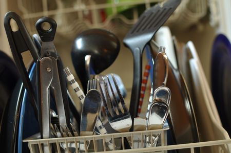 Close Up of Dirty Dishes in Dishwasher ready to be cleaned Stock Photo - 6152247