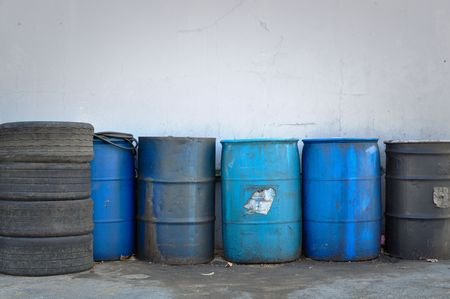 Hazardous and Toxic Waste Barrels storing pollution photo