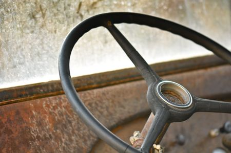 rusty car: Steering Wheel and Dashboard from an old rusty car or truck