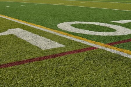 numbers abstract: Ten Yard Line Football Field on Fake Grass