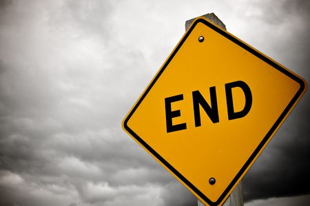hope: Dark and Cloudy Dead End Sign Stock Photo