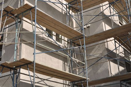 Scaffolding Construction in new apartment complex Imagens