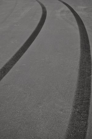 Tire Skid Marks from dangerous driving accident Stock Photo - 6599489