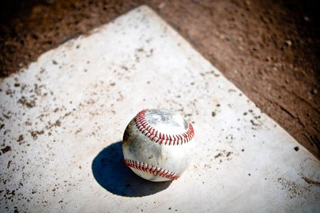 Old Baseball Close Up on Home Plate